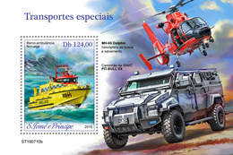 S. TOME & PRINCIPE 2019 - Special Transport, Ship S/S. Official Issue - Ships