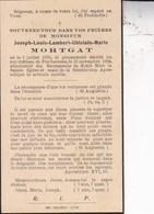 Porcheresse Château Joseph-Louis MORTGAT 1870 - 1934 Souvenir Mortuaire - Décès