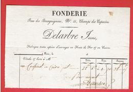 FACTURE ENTRE 1820 ET 1830 FONDERIE DELARBRE JEUNE RUE DES BOURGUIGNONS 33 CHAMPS DES CAPUCINES A PARIS FONTE FER CUIVRE - 1800 – 1899