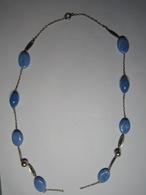 Ancien COLLIER En PERLE Et PIERRE ? De Couleur Bleu - Long Total 58 Cm Env (A Réparer) - Colliers/Chaînes