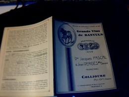 Vieux  Papiers  Publicité Vins De Banyuls Dépliant Domaine Vve Jacques Pascal &Jean Vergés Gendre à Collioure - Pubblicitari