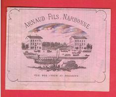 PRIX COURANT 1881 ARNAUD FILS A NARBONNE AUDE VUE DES CHAIS ET MAGASINS VIN EN FUT MUSCAT DE FRONTIGNAN EAU DE VIE - France