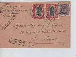 REF162/ TP 140-144(2) S/CP Exprès S.A.Charbonnages Levant Flénu C.Mons 13/5/1921 > Gand C.T.Gent Zuid En Arrivée - Belgique