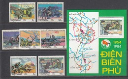Vietnam 1984 - 30th Anniversary Of The Battle Of Dien Bien Phu, Mi-Nr. 1444-50+Bl. 27, Perf., MNH** - Vietnam
