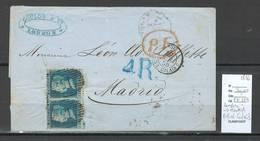 France - Lettre Londres Pour Madrid Via Calais - Ambulant Calais C -1856 - Postmark Collection (Covers)
