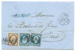 N°14 BLEU NAPOLEON SUR LETTRE / MARSEILLE POUR PARIS / 7 NOV 1855 / BANQUE ROTHSCHILD - Marcophilie (Lettres)