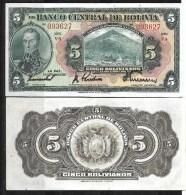 Bolivie :5 Bolivianos 1928 ( Circulé) - Bolivie