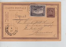 REF164/ Entier CP Albert 15c + TP 145 En Exprès C.T.Oudenarde 1921 > BXL C.T.BXL Nord - Cartes Postales [1909-34]