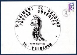 = Exposition Portes Ouvertes Régiment De Dragon Valdahon 15-16.sept.90 Général De Gaulle N°2634 - Expositions Philatéliques