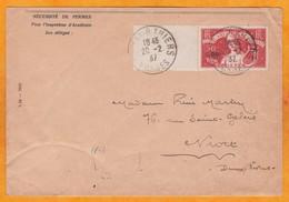 1937 - Enveloppe D'Epinal, Vosges Vers Niort, Deux Sevres - Affrt 50 C + 20 C Pour L'Art Et La Pensée Seul YT 329 - Postmark Collection (Covers)