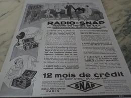 ANCIENNE PUBLICITE RADIO SNAP 1926 - Autres