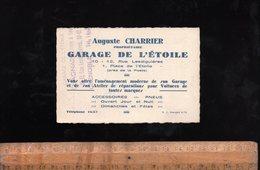 Carte De Visite Avec Plan GARAGE DE L'ETOILE Auguste CHARRIER 10 Rue Lesdiguières GRENOBLE - Visiting Cards
