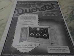 ANCIENNE PUBLICITE LE RADIOMODULATEUR BIGRILLE DUCRETET 1926 - Autres