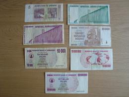 LOT DE 7 BILLETS RESERVE BANK OF ZIMBABWE SPECIAL AGRO-CHEQUE - Zimbabwe
