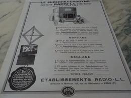 ANCIENNE PUBLICITE SUPERHETERODYNE TYPE AUTO RADIO LL 1926 - Autres
