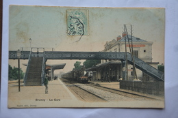 BRUNOY-la Gare-train En Gare-ATTENTION! MAUVAIS ETAT(important Decollement) - Brunoy