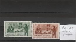 St Pierre Et Miquelon Yvert PA 1 Et 2 * Neufs Avec Charnière - Enfance Indigène - Unused Stamps