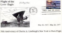 50th Anniversary Of Charles A.Lindbergh's New York To Paris Flight  -  Envelope Premier Jour - FDC - Avions