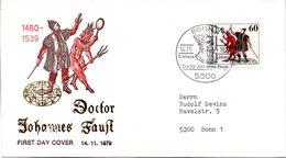 """BRD Schmuck-FDC """"Doctor Johannes Faust"""" Mi.1030  ESSt BONN 1, 14.11.1979 - FDC: Covers"""