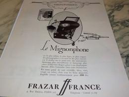 ANCIENNE PUBLICITE LE MIGNONPHONE DE FRAZAR   1926 - Autres