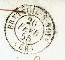 60 OISE BRETEUIL SUR NOYE LAC TAD 15 20/02/1855 PC Sur N° 14 Taxe 4 Manuscrite Mention Poids 8 G TTB - Marcophilie (Lettres)
