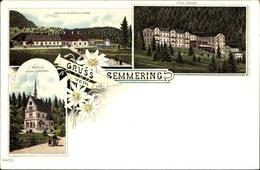 Lithographie Semmering In Niederösterreich, Gasthaus Erzherzog Johann, Kapelle, Hotel Panhans - Austria