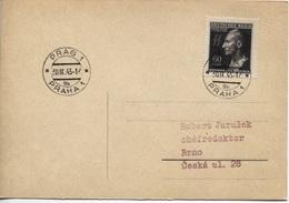 Böhmen Und Mähren # 131 Einzelfrankatur Postkarte Prag 30.9.43, Reinhard Heydrich - Böhmen Und Mähren