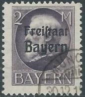1919 GERMANIA ANTICHI STATI BAVIERA USATO SOPRASTAMPATO 2 M - RB44-10 - Bayern