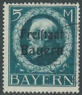 1919 GERMANIA ANTICHI STATI BAVIERA USATO SOPRASTAMPATO 5 M - RB33-10 - Bayern