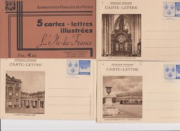 5 Cartes Lettres Illustrées L'Ile De France Armoiries 65c Bleu ( Entier Postal ) Avec Pochette N°s 6 à 10 - Entiers Postaux