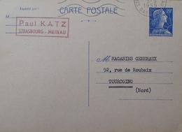 R1949/1617 - 1959 - TYPE MARIANNE DE MULLER - ENTIER POSTAL - N°1011B-CP1 - STRASBOURG-MEINAU à TOURCOING - 3 SEPT 1959 - Entiers Postaux