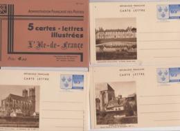 5 Cartes Lettres Illustrées L'Ile De France Armoiries 65c Bleu ( Entier Postal ) Avec Pochette N°s 1 à 5 - Postal Stamped Stationery