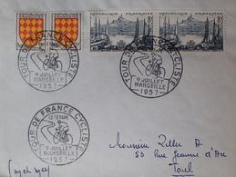 """R1949/1620 - N°1003 + 1037 Sur ✉️ Avec CàD """" TOUR DE FRANCE CYCLISTE 12e étape - MARSEILLE - 9 JUILLET 1957 - Cartas"""