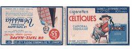 Couverture Du Carnet De Timbres Avec Publicité Illustrée Cornemuse, Cigarettes Celtiques, Tapis Nappe (1938) - Musique