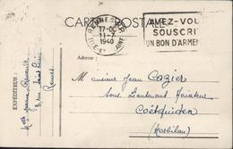 Guerre 39 45 CP FM Très Rare Flamme Rennes RP Ille Et Vilaine 11 7 40 Avez-vous Souscrit Un Bon D'armement - Postmark Collection (Covers)