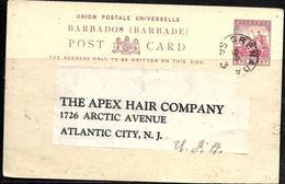 698 - BARBADOS - 1894 - STATIONERY CARD TO USA - TO CHECK - Briefmarken