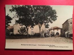 Martigny Les Bains (Vosges) Colorisée  Avenue De La Gare Point-Central Et Rue Des Eaux Avec Militaires - Autres Communes