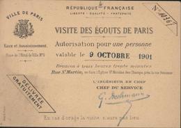 Billet Ticket D'entrée Visite Des égouts De Paris 1901 - Toegangskaarten