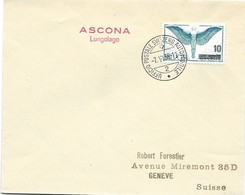"""123 - 69 - Enveloppe Avec Oblit Spéciale """"Ascona Lungolago 1938"""" - Marcophilie"""