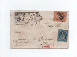 Lettre Chargée 1864 Puy De Dôme - Marcophilie (Lettres)