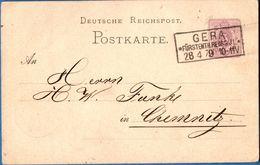 Gera Fürstenth Reuss J.L. Rechtecktempel 1879 Karte Frankiert Mit 5 Pfennige, Germany - 1912.2854 - Duitsland