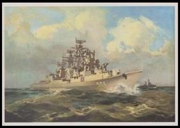 4-638 RUSSIA 1986 POSTCARD Mint NAVY NAVAL SHIP BATEAU MILITARY MILITARIA BATTLE ANTI SUBMARINE TRANSPORT USSR - Warships