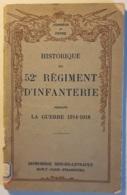 Historique Du 52° Regiment D'infanterie - France
