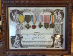 Diplome Et  6 Medailles 14/18 Soldat Au 52° Bataillon Sous Encadrement - France