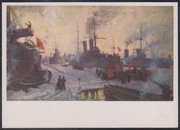 4-638 RUSSIA 1986 POSTCARD Mint NAVY NAVAL SHIP BATEAU MILITARY MILITARIA BATTLE Revolution Tug Tow TRANSPORT USSR - Warships