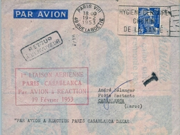1953 , FRANCIA , 1º LIAISON AÉRIENNE PARIS - CASABLANCA  PAR AVION À RÉACTION , CORREO AÉREO , TASA TAX , TAXE - Francia