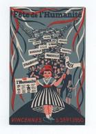 Carte Postale 1950 Fête De L'Humanité Vincennes - Partis Politiques & élections