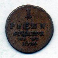 GERMAN STATES - BRUNSWICK-LUNEBURG-CALENBERG-HANNOVER, 1 Pfennig, Copper, Year 1789, KM #380 - [ 1] …-1871 : Duitse Staten