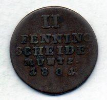 GERMAN STATES - BRUNSWICK-LUNEBURG-CALENBERG-HANNOVER, 2 Pfennig, Copper, Year 1801, KM #402 - [ 1] …-1871 : Duitse Staten
