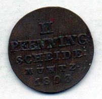 GERMAN STATES - BRUNSWICK-LUNEBURG-CALENBERG-HANNOVER, 2 Pfennig, Copper, Year 1803, KM #402 - [ 1] …-1871 : Duitse Staten